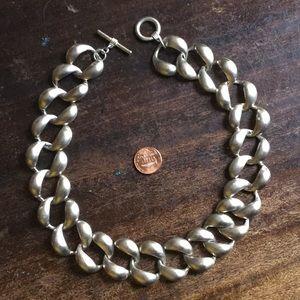 "Jewelry - Chunky Brushed 18"" Silver tone Choker"
